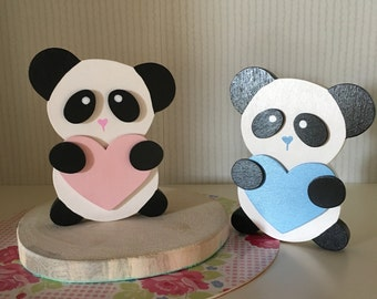 Children and nursery Pandí heart decoration with panda and Pandá