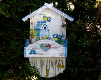 Key holder Wall key hanger Spring Housewarming gift New home Wooden key holder Key hanger Key organizer Birds Art key holder