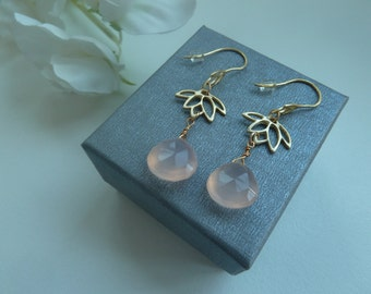 14ct gold vermeil earwires with lotus flower charms and pink chalcedony briolettes