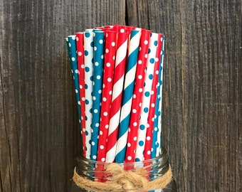 125 Teal Blue and Red Polka Dot and Stripe Paper Straws, Dr. Seuss Theme Party Goods, Birthday Party Supply, Baby Shower Paper Goods