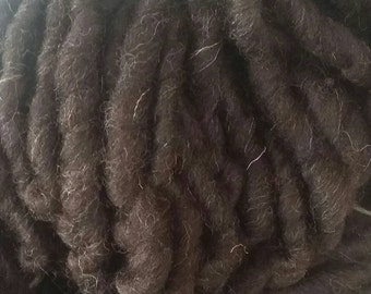 Handspun yarn, super bulky yarn, Black Welsh yarn, wool yarn, British wool yarn, super chunky yarn, hand spun yarn, chunky wool yarn  100g