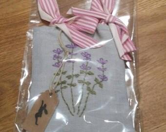 Hand Embroidered Lavender Bag