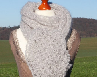 Bridal shawl / knitted shawl / knitted scarf / wrap / kid mohair / silk / light grey / delicate grey / silver gey