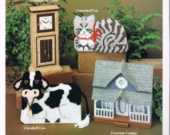 PLASTIC CANVAS - Doorstops Plastic Canvas Pattern - Cow Plastic Canvas Doorstop - Cat Plastic Canvas Doorstop - House Doorstop