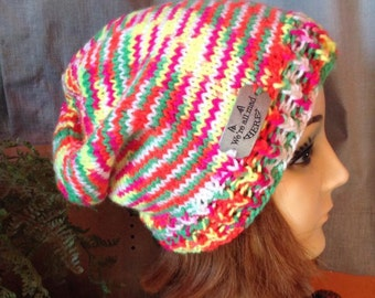 We're all mad here - Message Hat - Hand knit - neon stripes