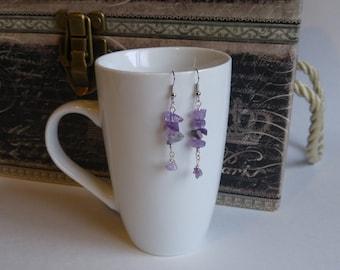 Amethyst dangling earrings, purple, silver, hypoallergenic, nickel free, gift for her, handmade by Felicianation