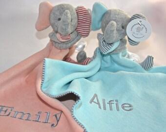 Personalised Elephant Baby Comforter / Blanket / Soother Blanket / Baby Gift / Baby Shower Gift / New Baby Gift