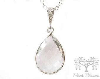 Quartz Necklace, Clear Quartz Necklace, bridesmaid necklace, birthstone necklace, April necklace, Gift For Her, Teardrop necklace, Modern