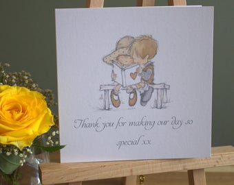 """5"""" Personalised Square Milky White  Wedding Thank You Card & Envelope / Set of 5"""