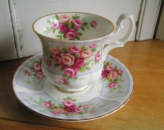 Vintage Royal Albert Rosedale Series Conway Footed Teacup Cup and Saucer in the Unusual Montrose Shape Grey Panels with Pink Roses Tea Party