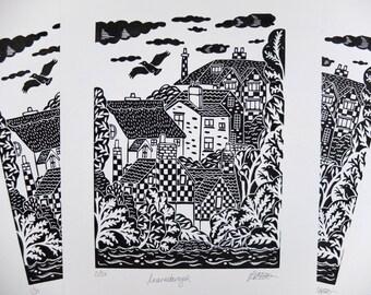 Knaresborough Yorkshire Original Lino Print