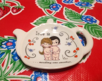 """Vintage teapot shaped ceramic tea bag holder or caddy- """"Love is... needing one another."""""""