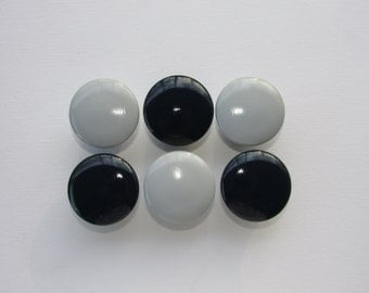 Grey and Navy Blue Dresser Drawer Knobs Set of 6