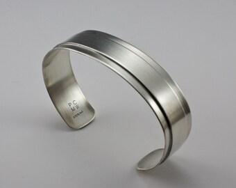 Sterling Silver Bracelet, Modern Cuff Bracelet, Mens Cuff, Womans Bracelet, Contemporary Cuff, Oxidized Cuff, Polished Cuff, Shiny Cuff
