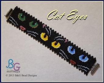 CAT EYES Peyote Cuff Bracelet Pattern