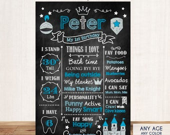 First Birthday Chalkboard Poster Knight Party Sign Knight Birthday Party Sign Blue Boy Party Milestones Poster - 1st Birthday