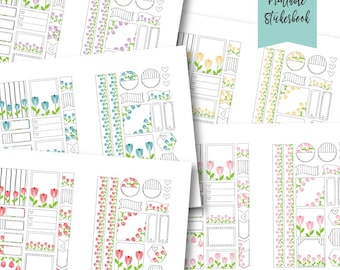Floral printable Planner stickers Flower theme stickers planning sticker kit digital sticker bundle Daily Planner Decorating Stickers PDF