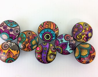 Set of 8 Colorful Paisley Cabinet Knobs