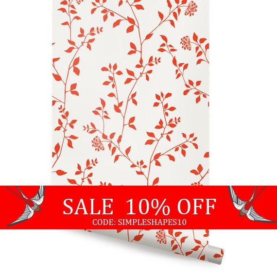 Sale branch flower orange peel stick fabric by accentuwall for Orange peel and stick wallpaper