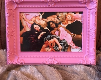 Russ Meyer babes colour print in a pink frame 6x4""