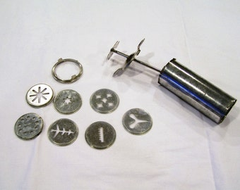 Vintage cookie press with 7 attachments/disks