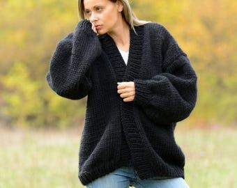 Hand Knitted 100% Soft Wool Cardigan Oversized Black Designer Coat Sweater Slouchy Wrap by EXTRAVAGANTZA