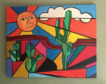 Original Southwest Cactus Painting on Canvas 16X20
