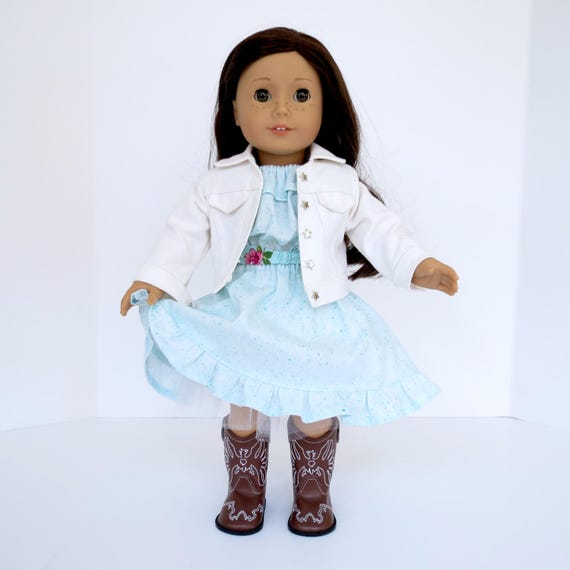 Turquoise Country Tea Rose OUTFIT for 18 inch dolls such as American Girl® Tenney Grant® Includes Sleeveless Dress, Denim Jacket & Crinoline