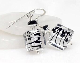 Silver, Black, Venetian Murano Glass Earrings, Silver Murano Glass Earrings, Sterling Silver, Italian Artisan, Zig Zag, Lampwork Earrings