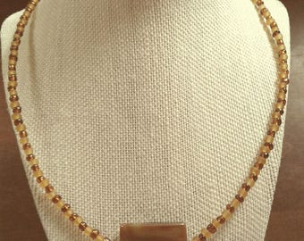 Square Banded Agate Beaded Necklace