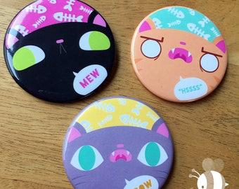 Cat Talk: Oversized Pinback Buttons