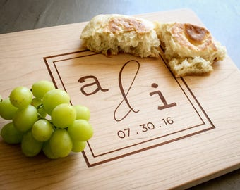 Personalized Cherry Cutting Board, Engraved Cutting Board, Custom Cutting Board: Wedding Monogram, Housewarming, Mother's Day, Anniversary