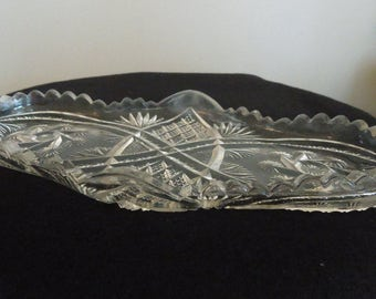 Unique Shaped Vintage Crystal Tray