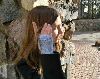 Fingerless gloves, lacy light blue arm warmers, wrist warmers, wristers, texting gloves