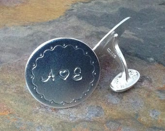 Hand Stamped Personalized Sterling Silver Cuff Links - Groom, Groomsman, Father - Customize Your Way