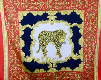 Gorgeous Vintage 80s LEOPARD Cheetah Jaguar SCARF 35x35 Made in Italy