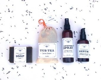 Lavender Gift Set - Moisturizing Body Oil, Handmade Bar Soap, Tub Tea, Room and Body Spray