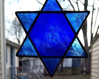 Star of David Stained Glass Suncatcher - Blue
