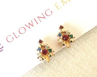 CLEARANCE SALE Eisenberg Ice Christmas tree clip on earrings