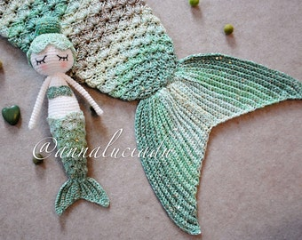 Free Knitting Pattern For Mermaid Doll : Mermaid tail blanket Etsy