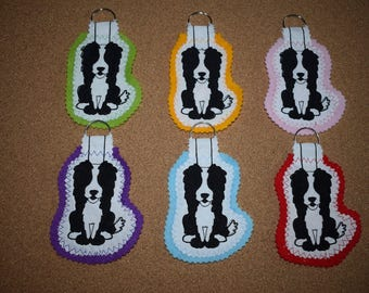 Border Collie Keyring, Black & White Border Collie, Keyring, Handmade Keyring, Dog Keyring, Border Collie Gift, Fabric Keyring, Dog Gift
