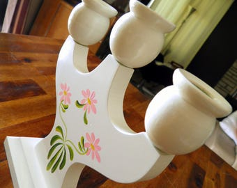 """Mid Century Swedish 3-Arm Wood Candelabra--White with Pink Flowers--7-1/2"""" W x 2-1/2"""" D x 8-1/2"""" H--""""Made in Sweden"""" Sticker"""