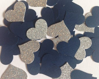 Navy Blue and Silver Heart Confetti ~ Silver Glitter, Wedding Decorations, Bridal Shower, Engagement Party, Anniversary, Party Decorations