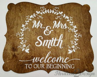 Mr. and Mrs. Name Welcome to our beginning Plaque - Wedding, Wall decor, Vine border, Monogram
