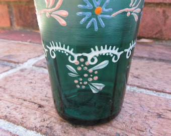 Tumbler - Drinking Glass - Green - Hand Painted - Vintage