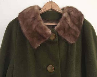 Vintage Forstmann Wool Swing Coat with Mink Collar