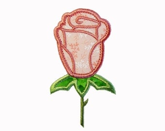 "Bud Rose Applique Machine Embroidery Design Pattern in 3 sizes 4"", 5"" and 6"""