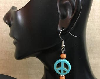 ON SALE Reconstructed Turquoise Peace Symbol Dangle Earrings