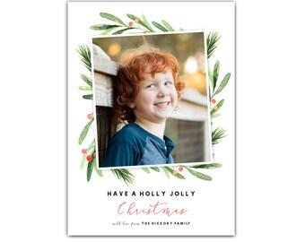Holly Jolly Holiday Card // Photo Christmas Cards // Photo Holiday Cards // 5x7 Printable Holly Christmas Cards Photo // The Hickorys
