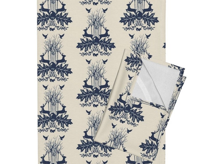 Woodland Crest - Beige and Dark Blue Tea Towel